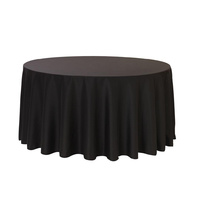 Tablecloth 260cm Round Black Caress Plain