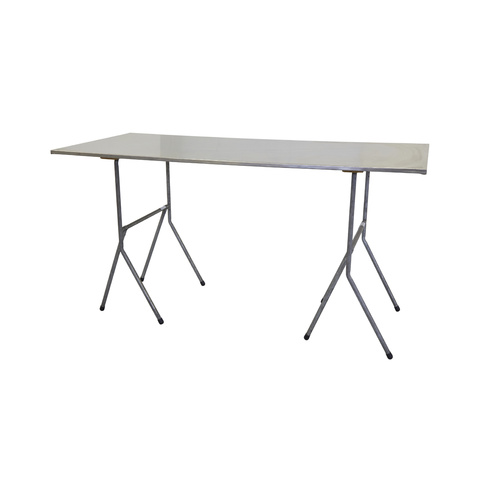 Tall Trestle Table Stainless Steel 1.8m x 0.75m (0.90m High)